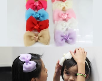 10pcs Girls Kids Baby Bow Flower Elastic Headband Hair Band Multicolor Assorted