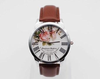 Roman numerals watch,Wrist watch,Floral watch,women Watch, Leather Watch