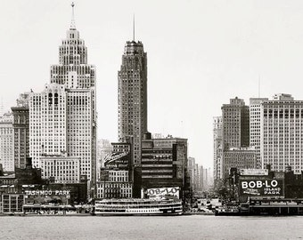 Old Detroit Skyline 1930s Seen from Detroit River Downtown 1920s Skyscrapers City Towers Black and White Historic Photography Photo Print