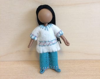 Lisbeth - Doll - Ethnic doll - Dollhouse doll - Miniature doll - Bendy doll - Faceless doll - Waldorf doll - Montessori - home school