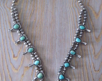 Vintage Navajo Squash Blossom Necklace, Sterling Silver, Turquoise, Native American, 1940's, Tribal Jewelery