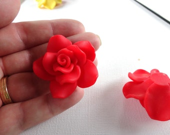 2 Large SCARLET RED Polymer Clay Rose Beads  pol0018