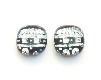 Silver & Black Fused Dichroic Glass Stud Earrings, 12mm Cabochons, Cabs, Geometric Patterns, Hypoallergenic Surgical Steel Posts, Jewelry
