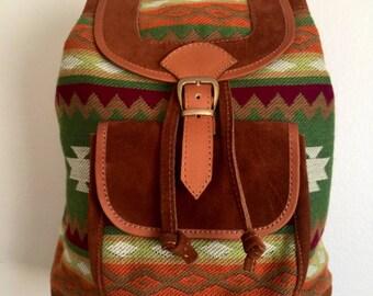 Large front pocket suede Backpack. Handmade