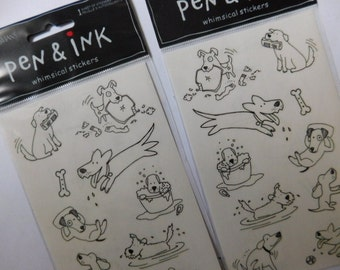 Two New In Package Whimsical Dog Stickers - Arts and Crafts Supplies