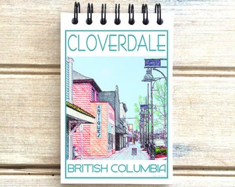 Cloverdale B.C. - Love This Place - Cityscape Notebook - Vancouver Canada - Notepad Custom Gift - The Jitterbug Shop