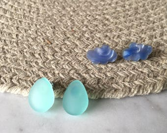 Cloudy with a chance of rain: blue cloud rain drop laser cut acrylic perspex statement stud earrings