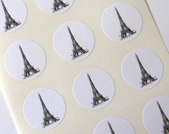 Eiffel Tower Stickers One Inch Round Seals