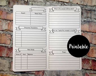 Bible Study Journal, Standard Size, TN Insert, Traveler's Notebook Insert, Printable