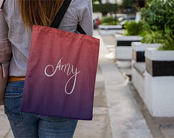 Personalized Women Gifts, Ombre Bag,  Custom Tote Bag Personalized, Large Tote Bag, Beach Bag Personalized, Gifts For Teen Girls Purse