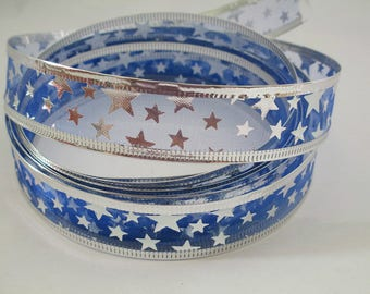 2.50 m deco Blue Christmas patterned Ribbon silver flexible 25mm border and silver stars