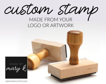 Custom Rubber Stamp, Custom Logo Stamp, Personalized Rubber Stamp with wooden handle. YOUR LOGO / ART on a Rubber Stamp!