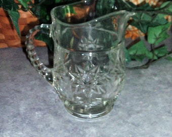 Star of David Pattern Glass Pitcher or Creamer