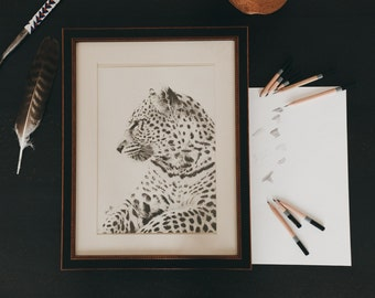 Leopard pencil drawing - Frame