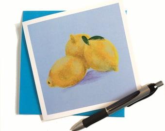 Art card, Greetings Card, still life lemon painting, lemon card,  painting by Lydia Dawson Artwork