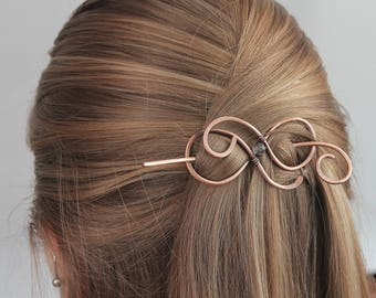 Beaded Hair Clip for Women in Wide Choice Colors, Handmade in Copper Wire, Metal Hair Slide with Stick