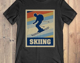 Skiing T-Shirt Gift: Vintage Style Skiing