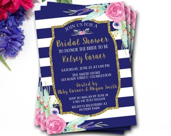 Blue And Gold Bridal Shower Invitation, Flower Bridal Shower Invitation, Glitter Bridal Shower Invitation, Glitter Invite, DIY Printable