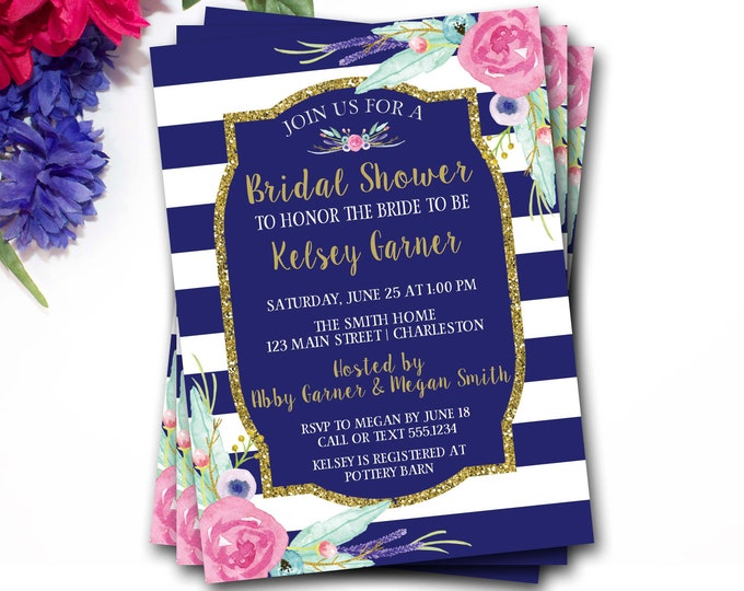 Blue And Gold Bridal Shower Invitation, Flower Bridal Shower Invitation, Glitter Bridal Shower Invitation, Glitter Invite, DIY Printable