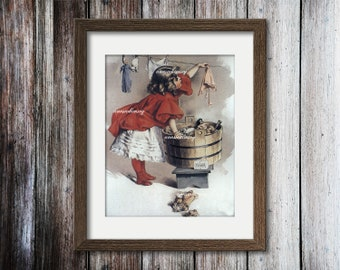 Little Girl's Room Art, Laundry Room Art, Girl Nursery Art Washing Dollies' Clothes  #137