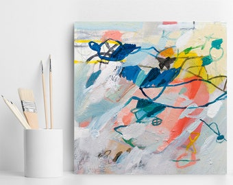 Small ABSTRACT PAINTING Original Art, Small Canvas Painting Acrylic painting colorful wall art blue and coral by Duealberi