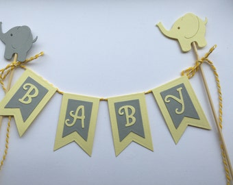 Yellow And Grey Baby Shower Cake Topper. Neutral Baby Shower Topper Elephant Baby Shower