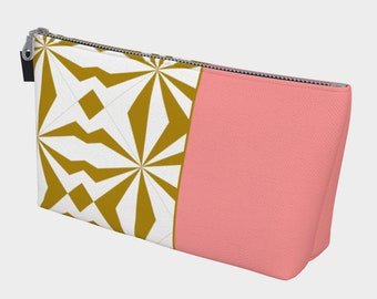 Tribal Gold Pink Makeup Bag