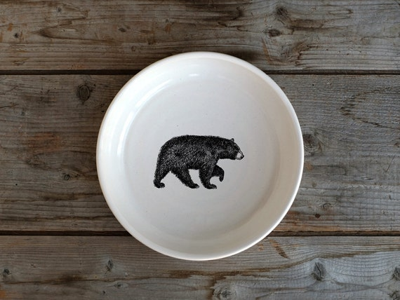 Handmade Porcelain shallow bowl/pasta bowl with American black bear drawing by Cindy Labrecque, Canadian Wildlife collection