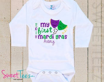 My First Mardi Gras Shirt Baby Bodysuit Boy Girl Masks Personalized with Name and Year