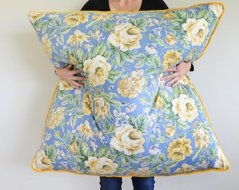 Blue floral floor cushion with yellow velvet piping, upcycled vintage fabric pillow, 100cm /30inches square stuffed with duck feather insert