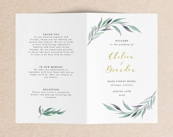 Folded Wedding Program Template - Watercolor Leaf Printable Wedding Program - Garden Wedding Program - Rustic Wedding Program - Chelsea