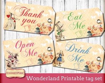 Alice in Wonderland party tags - Wonderland Tags - Eat Me tag - drink me tag - decoration - label - Wonderland party - printables