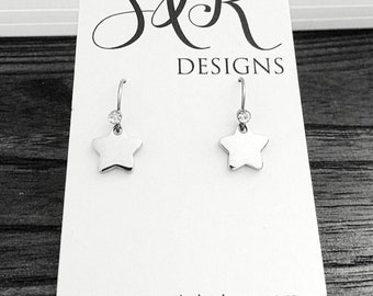Star Drop Earrings, CZ Stars Earrings Stainless Steel