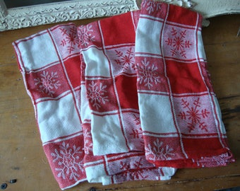 Christmas kitchen dish towels with snowflakes kitchen decor linens red and white