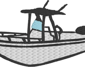 Fishing boat, center console boat, embroidery file 2 sizes in pes, jef, hus, dst