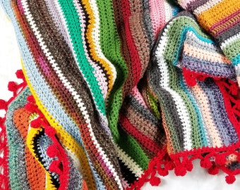 Multicolor Lapghan | OOAK One of a Kind Lap Afghan with Pom Pom Border | Boho Blanket | Ready to Ship Colorful Striped Scrap Throw Blanket
