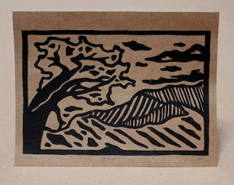 Ascent / Handmade Card / Linocut Print / Mountain Art