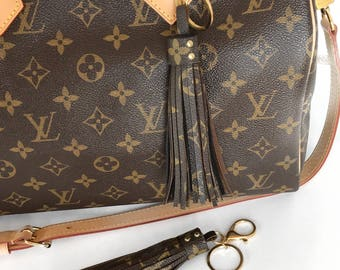 Louis Vuitton Bag Charm Tassel made with Authentic Upcycled Louis Vuitton Canvas and Black Suede