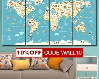 Kids World Map, Animal world map, Kids map, Kids room decor, Nursery world map, Kids wall art, World map kids, Map for kids, world map