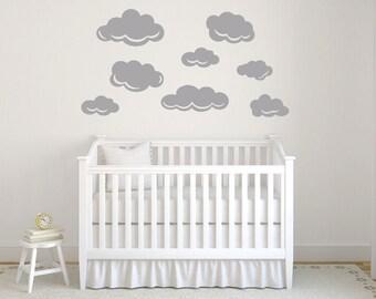 Gray cloud decal, Cloud wall decal, Nursery wall decals, Cloud wall stickers, Baby shower cloud, Baby wall decal, Cloud wall art DB408