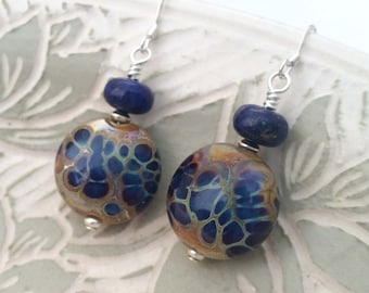 LAPIS SHIMMER - Artisan Lampwork Glass and Lapis Lazuli Sterling Silver Earrings