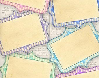 Printable Pastel Blank Labels add text paper crafting digital download instant download digital collage sheet - VDLAVI1130