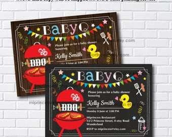 BabyQ party, Baby shower bbq, BabyQ,  baby shower, baby q invite, bbq party, bbq invite,  couples shower, co ed baby shower, card 516