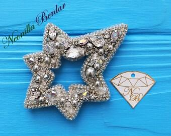Star Brooch with Swarovski pearls  * Handmade jewelry * Swarovski brooch * Sequin embroidery * Fashion brooch