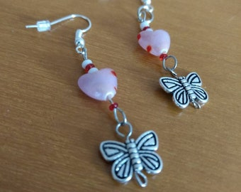 Dangle Earrings made tiny heart shape beads and a pewter butterfly charm- Gifts for her