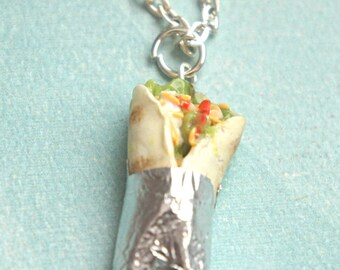 burrito necklace- miniature food jewelry, mexican food