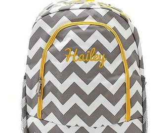 Monogrammed Backpack Personalized Chevron Gray Yellow Backpack Personalized Backpack Kids Backpack Girls Backpack Boys Backpack