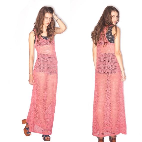 70's Vintage Macrame Sheer Maxi Dress