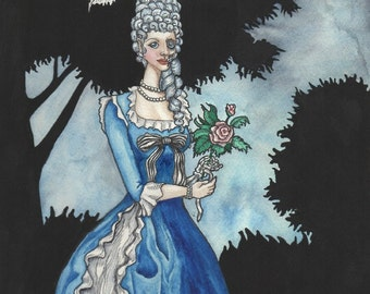 Marie Antoinette Zombie With Roses - Art Print - Watercolor Painting- - SALE