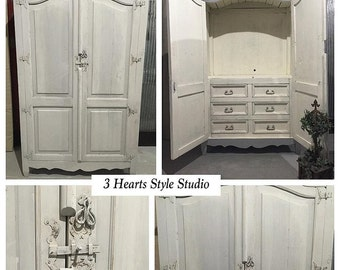 Weathered Gray Armoire  Shabby Chic, Painted Furniture, Refinished Furniture  Denver And Colorado Springs, Media, Cabinet, Farmhouse, Rustic